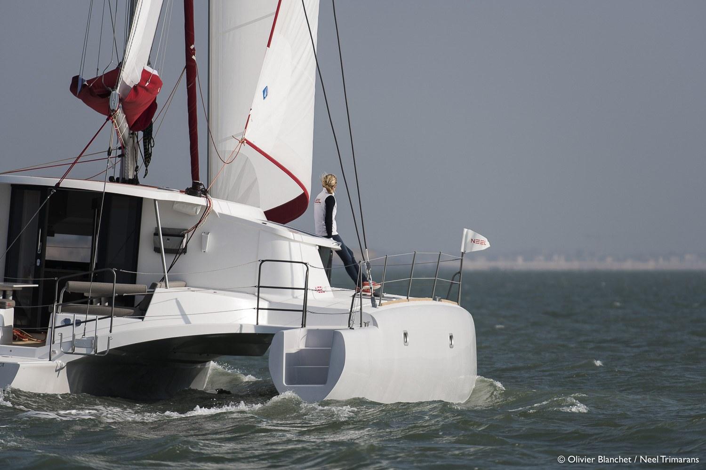 Banque Images Navigation Neel 45 Evolution - Neel Trimarans au large de La Rochelle